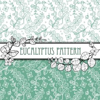 Outline elegant eucalyptus seamless pattern