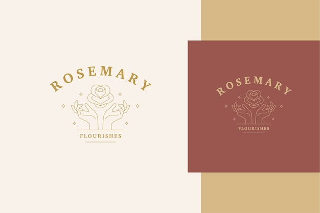 Наброски шаблон эмблемы с женскими руками, держащими элегантную розу