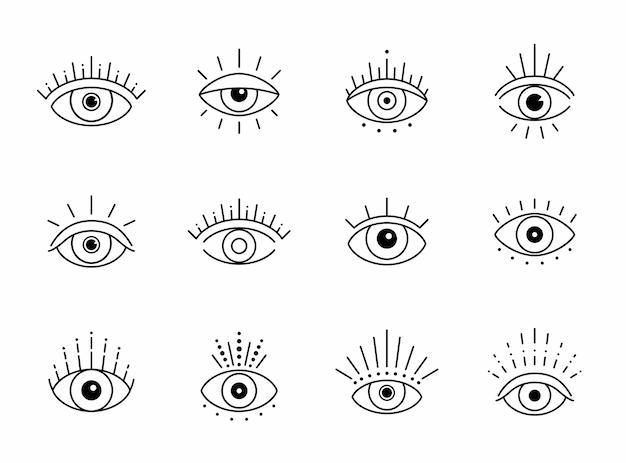 Outline eye boho design