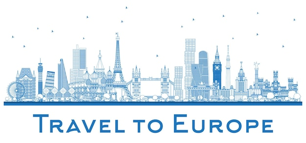 Outline famous landmarks in europe. london, paris, moscow, rome, madrid. vector illustration. business travel and tourism concept. image for presentation, banner, placard and web site.
