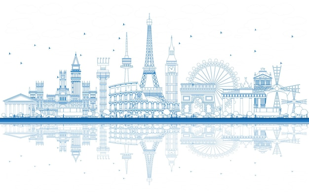 Outline famous landmarks in europe with reflections. vector illustration. business travel and tourism concept. image for presentation, banner, placard and web site