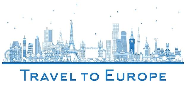 유럽의 유명한 랜드마크 개요. 런던, 파리, 모스크바, 로마, 마드리드. 벡터 일러스트 레이 션. 비즈니스 여행 및 관광 개념입니다. 프레젠테이션, 배너, 현수막 및 웹 사이트용 이미지.