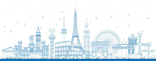 유럽의 유명한 랜드마크 개요. 벡터 일러스트 레이 션. 비즈니스 여행 및 관광 개념입니다. 프리젠테이션, 배너, 현수막 및 웹사이트용 이미지