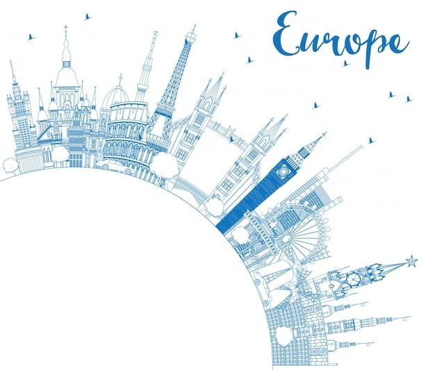 복사 공간이 있는 유럽의 유명한 랜드마크 개요. 벡터 일러스트 레이 션. 비즈니스 여행 및 관광 개념입니다. 프리젠테이션, 배너, 현수막 및 웹사이트용 이미지