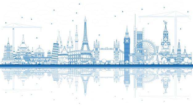 반사와 유럽의 유명한 랜드마크 개요. 벡터 일러스트 레이 션. 비즈니스 여행 및 관광 개념입니다. 프레젠테이션, 배너, 현수막 및 웹 사이트용 이미지.