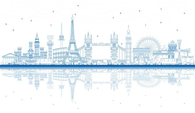 반사와 유럽의 유명한 랜드마크 개요. 벡터 일러스트 레이 션. 비즈니스 여행 및 관광 개념입니다. 프리젠테이션, 배너, 현수막 및 웹사이트용 이미지