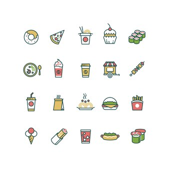 Outline fast food icons