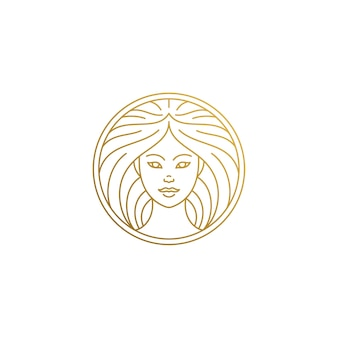 Outline female face logo in circle hand drawn with thin lines