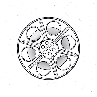 Outline of film stock front view retro cinema strip vintage camera reel vector illustration Premium Vector