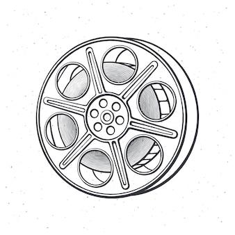 Outline of film stock vintage camera reel movie industry old cinema strip vector illustration