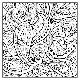 本のページを着色するための花柄の輪郭を描きます。落書き飾り。手描きイラスト。