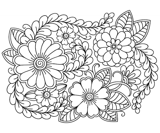 Outline floral pattern in mehndi style for coloring book page. antistress for adults and children. doodle ornament in black and white.