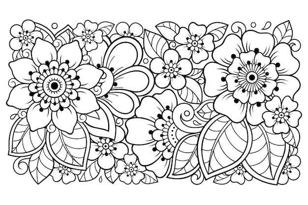 Outline floral pattern in mehndi style for coloring book page. doodle ornament in black and white. hand draw   illustration.