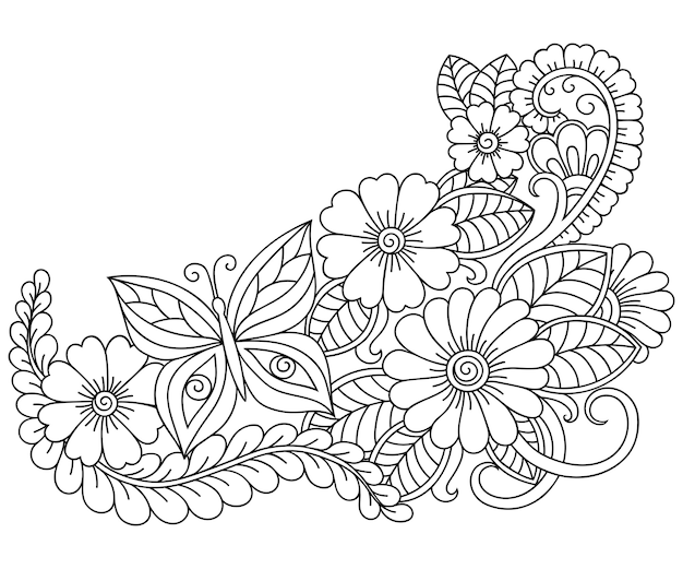 Outline flower pattern in mehndi style for coloring book page. doodle ornament in black and white. hand draw   illustration.