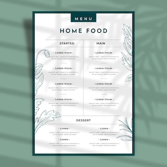Outline flowers and leaves restaurant menu