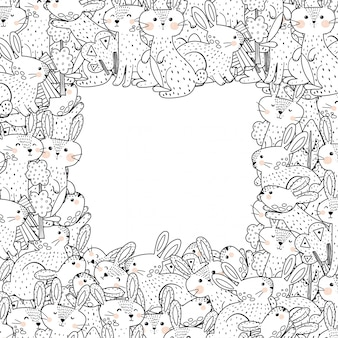 Outline frame template with funny rabbits