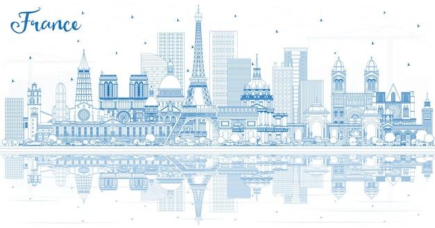 파란색 건물과 반사가 있는 프랑스 도시의 스카이라인을 설명합니다. 벡터 일러스트 레이 션. 역사적인 건축과 관광 개념입니다. 랜드마크가 있는 프랑스 풍경입니다. 툴루즈. 파리. 리옹. 마르세유.