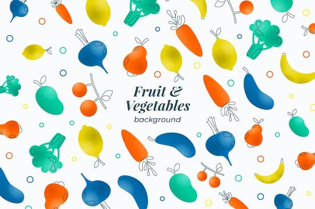 Контур фруктов и овощей в полутоновом эффекте
