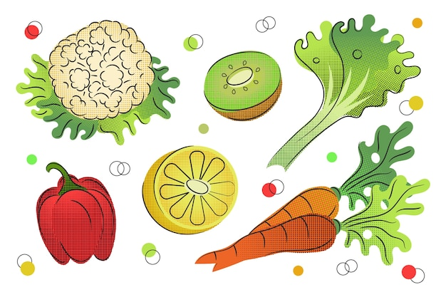 Outline fruit and vegetables background