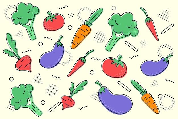 Outline fruit and vegetables background