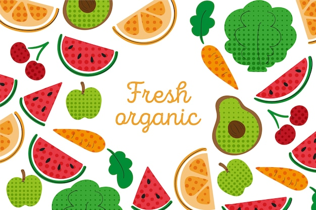 Outline fruit and vegetables wallpaper with colorful halftone