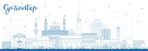 파란색 건물이 있는 가지안테프 터키 도시 스카이라인 개요. 벡터 일러스트 레이 션. 역사적인 건축과 비즈니스 여행 및 개념. 랜드마크가 있는 가지안테프 도시 풍경.