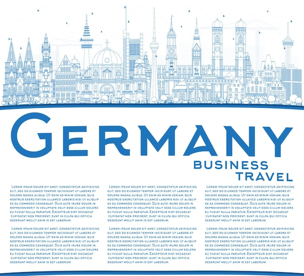 Очертите горизонт города германии с синими зданиями и копией пространства. векторные иллюстрации. деловые поездки и концепция туризма с исторической архитектурой. городской пейзаж германии с достопримечательностями.