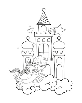Outline girl and cute unicorn in the castle with cloud