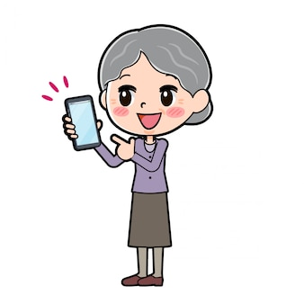 Outline of grandma pointing at smartphone