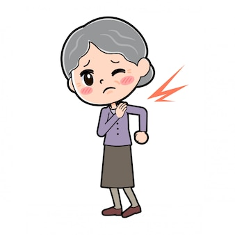 Outline of grandma with stiff shoulder