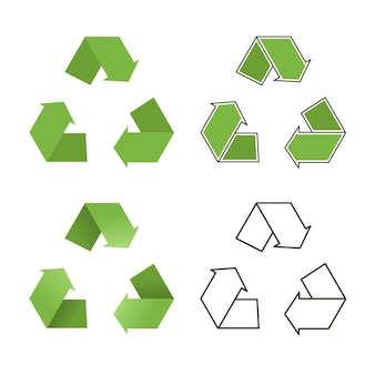 Outline and green color recycling icon vector