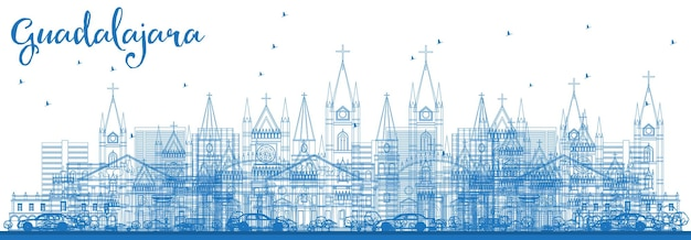 Outline guadalajara mexico city skyline with blue buildings. vector illustration. business travel and tourism concept with historic architecture. guadalajara cityscape with landmarks.