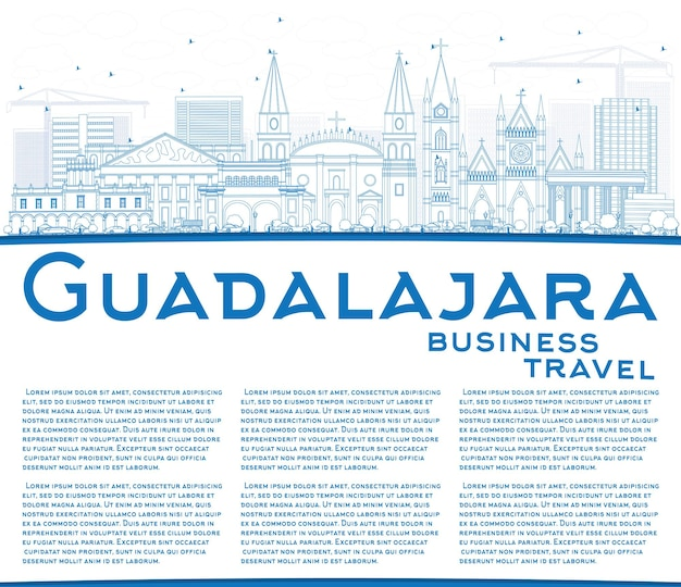 Outline guadalajara skyline with blue buildings and copy space. vector illustration. business travel and tourism concept with historic architecture. image for presentation banner placard and web site.