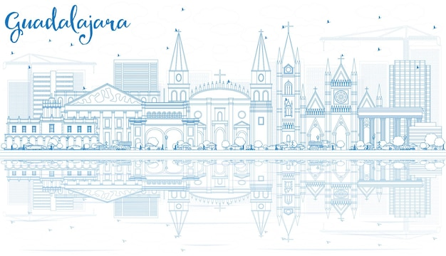 Outline guadalajara skyline with blue buildings and reflections vector illustration