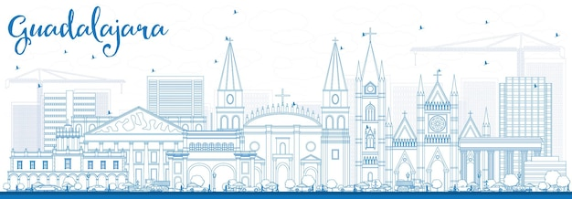 Outline guadalajara skyline with blue buildings. vector illustration. business travel and tourism concept with historic architecture. image for presentation banner placard and web site.