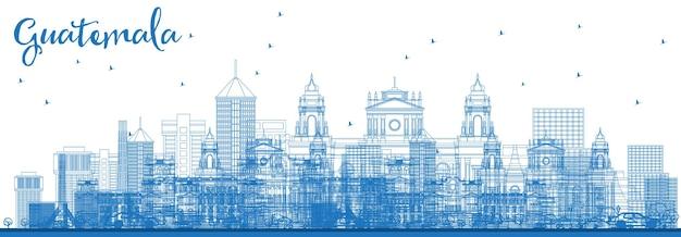 Наброски на фоне линии горизонта гватемалы с голубыми зданиями. векторные иллюстрации. деловые поездки и концепция туризма с современной архитектурой. городской пейзаж гватемалы с достопримечательностями.