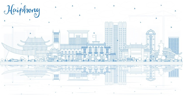 Outline haiphong vietnam city skyline with blue buildings and reflections
