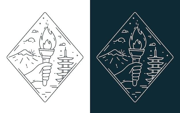 日本の風景にオリンピック聖火で手の輪郭を描く