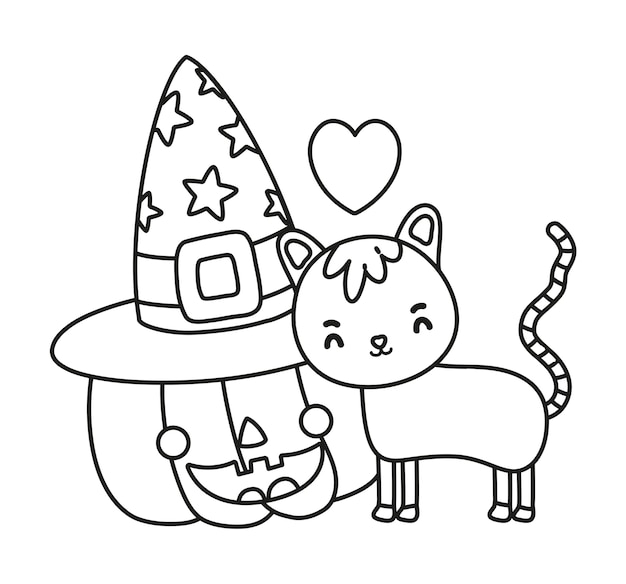 Outline happy pumpkin with hat and cute cat