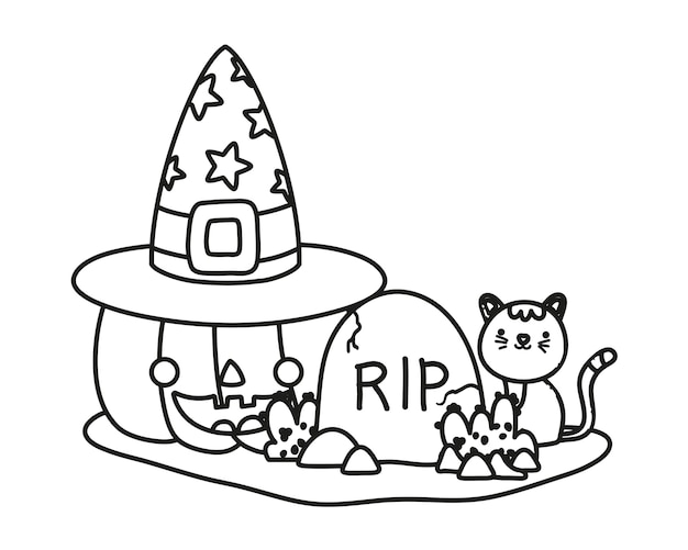 Outline happy pumpkin with hat and rip with cat