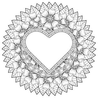 Outline heart shape floral frame in mehndi style.