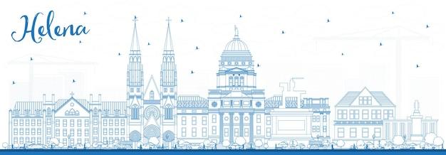 Наброски на фоне линии горизонта города хелены монтана с голубыми зданиями. векторные иллюстрации. деловые поездки и концепция туризма с исторической архитектурой. елена городской пейзаж сша с достопримечательностями.