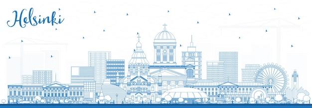 青い建物でヘルシンキフィンランドの街のスカイラインの概要を説明します。ベクトルイラスト。歴史的な建築と出張とコンセプト。ランドマークのあるヘルシンキの街並み。