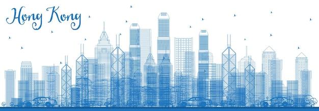 파란색 건물이 있는 홍콩 중국 스카이라인 개요. 벡터 일러스트 레이 션. 현대 건축과 비즈니스 여행 및 관광 개념입니다. 랜드마크가 있는 홍콩 풍경.