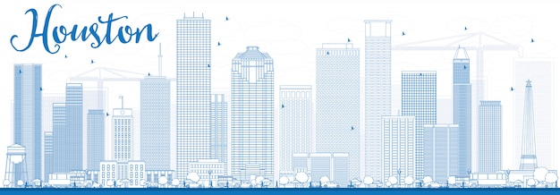 Outline houston skyline with blue buildings.