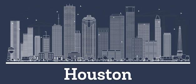 Очертите горизонт хьюстона, штат техас, с белыми зданиями. векторные иллюстрации. деловые поездки и концепция с современной архитектурой. городской пейзаж хьюстона с достопримечательностями.