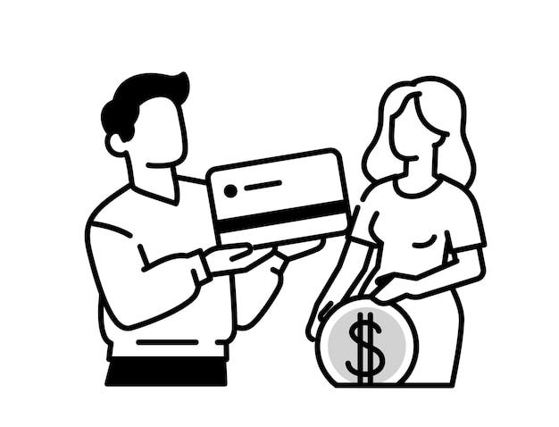 신용 카드와 동전을 가진 남자와 여자의 개요 아이콘