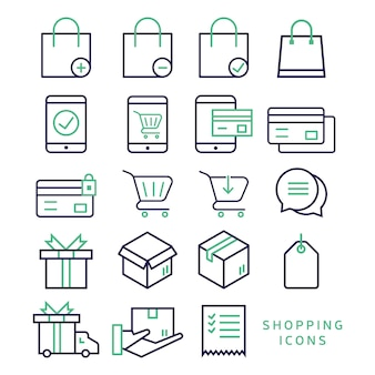 Outline icons about shopping