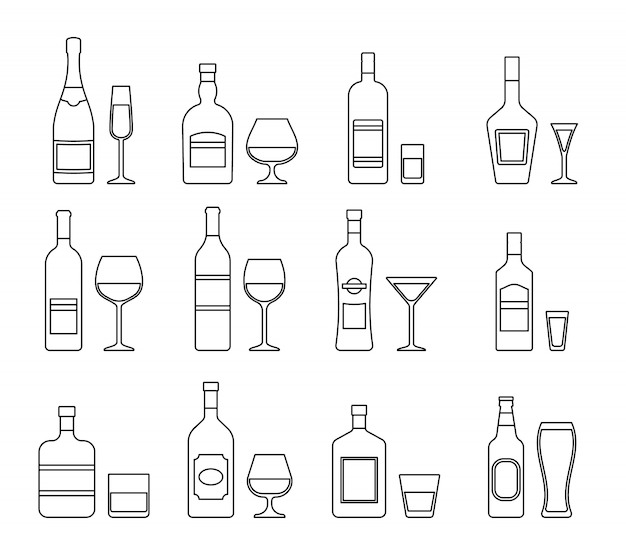 Outline icons of alcohol bottles beverages and glasses. vector