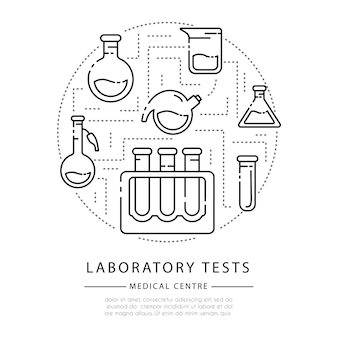 Outline icons, round composition - laboratory flasks, measuring cup and test tubes for diagnosis, scientific experiment.